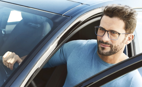 man wearing jaguar eye glasses